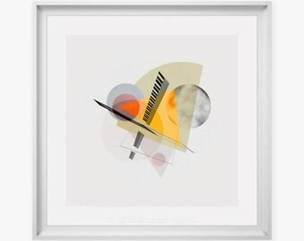 "Yellow Green Orange Modern Art Print - Crisp Circles & Shapes On Neutral Background, Wall Prints, Home Decor, Up To 28"" X 28"" X-Large Print"