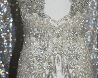 Beaded bridal gown embroidery, prom dress embroidery