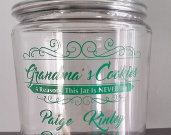 Personalized Cookie Jar / Grandma's Cookies / Candy / Dog Treats