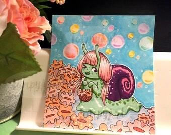 Original Snail Girl Illustration