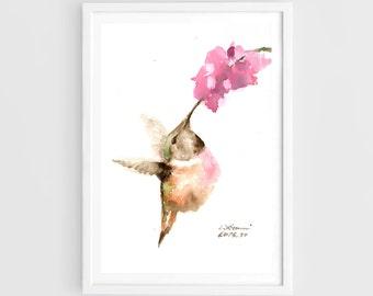 "Original painting, hummingbird, 5""x7""(13x19cm),home decor"