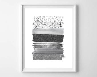 Delicieux Silver Wall Art,Silver Stripes,Nursery Stripes,Silver Modern Art,Silver  Decor