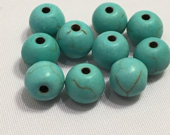 6 mm 10 pc Turquoise Dyed Howlite