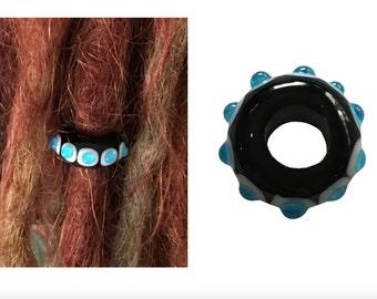 Artisan Glass Black, White & Aqua Dread Dreadlock Bead Charm Hair Plait Hippie Festival Big Large Hole - WA