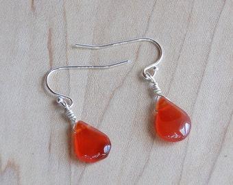 Carnelian Drop Earrings, Carnelian Teardrop Earrings, Gemstone Earrings, Sterling Silver Earwires