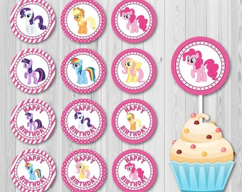My Little Pony cake toppers in pink color. Digital Birthday cupcake toppers - PRINTABLE and INSTANT Download