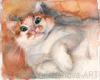Smiling Orange  Cat ART PRINT -- watercolor cat painting, cat print, cat wall art, cat decor, cat lover gift, cat portrait
