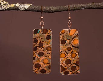 Rustic Dragon scale patina copper earrings
