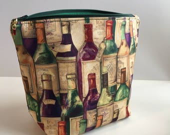 Wine bottle knitting project bag small