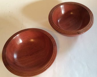 Turned pair of jarrah bowls, handmade from recycled Australian hardwood