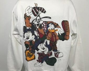 Vintage Disney Mickey, Goofy, Donald, Minnie Sweatshirt L