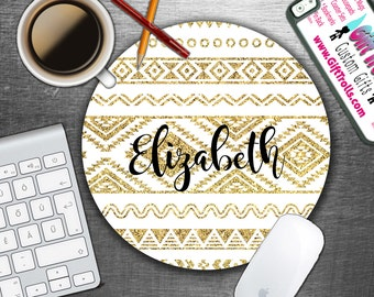 Gold Aztec - Tribal - Personalized Mouse Pad - Monogram Mousepad - Personalized - CoWorker Gift - Teacher Gift - Chic Mousepad - Glitter