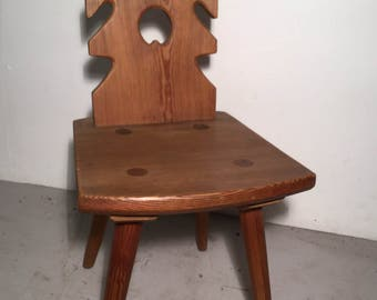 Solid Handmade Vintage Pitch Pine Chairs