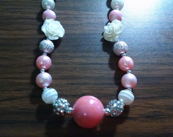 Valentine's Day Chunky Bubblegum Necklace.  Pink, White, and Silver.  12mm bead Bubblegum Necklace