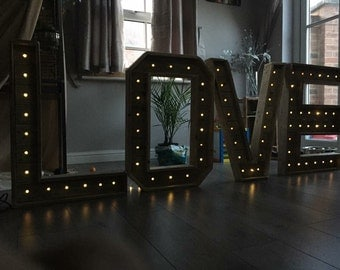 light up letters reclaimed pallet wood