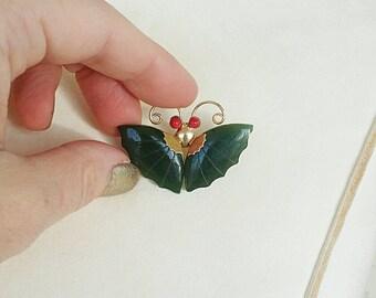 Vintage Jade Butterfly Brooch Pendant
