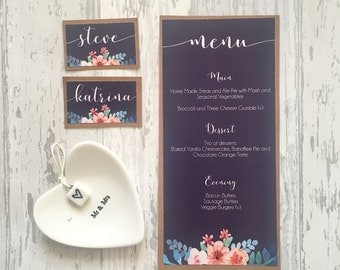 DIY Navy and Pink Printable Wedding Day Table Suite - Place Names/Table Numbers/Menu Cards