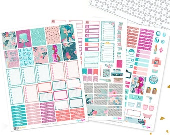 Printable Planner Stickers, Aqua gem glam Planner, fashion girl, jewels, girly, Weekly Kit, use with Erin condren, floral, LVP, Beauty, chic