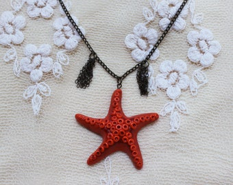 Starfish pendant Starfish necklace Starfish charm Orange starfish Sea necklace Summer necklace Summer outdoor Summer party