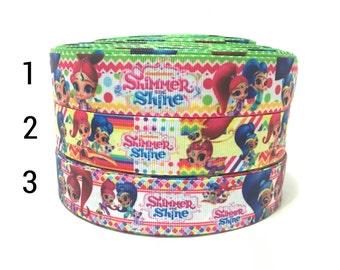 """1"""" Genie Ribbon by the yard, Genie Grosgrain Ribbon, Shimmer Ribbon, Shine Ribbon, 25mm Carton Ribbon"""