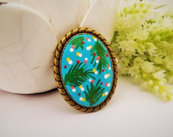 Palm Trees Summer Holidays Brooch . Lovely Vintage Hand Painted Cameo Brooch Polymer Clay Jewelry Nickel Free Antique Bronze