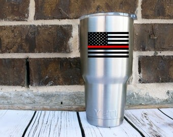 Fire Fighter Flag Decal - Fire Fighter - Flag Decal - Thin Red Line- Tumbler Decal - EMS - Christmas Gifts - Stocking Stuffer