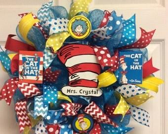 Dr. Seuss Wreath- Mini, Teacher Wreath-Mini, Cat in the Hat Wreath-mini, Classroom Wreath-Mini, School Wreath-Mini, Classroom decor