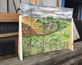 Hadrian's Wall painted Fire Screen made with recycled Pallet Wood