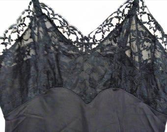 Vintage Black Slip, 50s Vanity Fair Black Slip, Lace Bodice Black Slip, Mad Men Style Lingerie