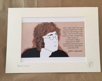 John Lennon A4 mounted print.