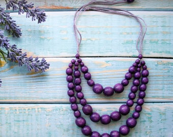 Purple Statement Necklace  Beaded Necklace Chunky Necklace  purple necklace, violet necklace, bead necklace