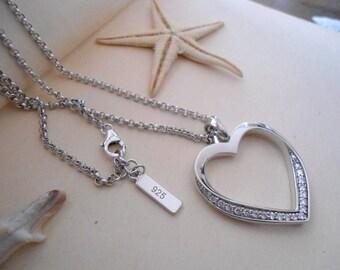 Silver heart pendant, sterling silver pendant, silver necklace, vintage heart pendant, vintage silver pendant, silver chain