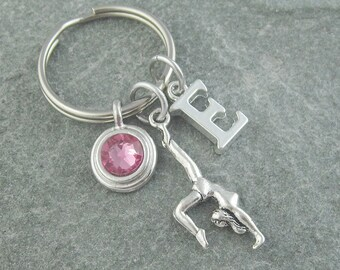 Gymnast keychain, gymnast keyring, gymnastics gift, custom keychain, personalized keyring, initial keychain, birthstone keychain, monogram