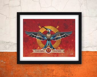 Girl on fire Mockingjay inspired print - Hunger games themed poster - book print - hunger games illustration - Book print - Bookish print