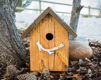 Rustic antler birdhouse with flip up lid