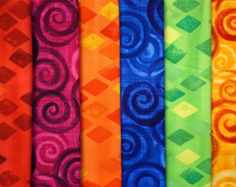 Guatemalan Rainbow - by Priscilla Bianchi - for Robert Kaufman - Fat Quarter Bundle - 6 pieces