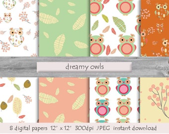 DIGITAL PAPER Dreamy Owls pattern  instant download  milk white turquoise pink feather