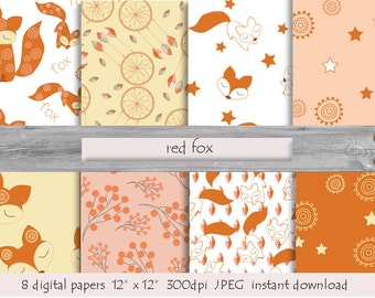 Red Fox Pattern, Foxes DIGITAL PAPER, Foxes Patterns, Cute Forest Animals, Foxes Scrapbook Papers, Autumn Fox Print, Download Instant