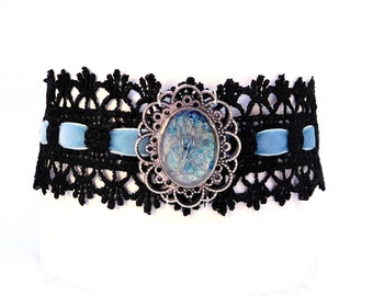 "Lovely Choker ""Ice Blue"", Black Lace, Blue Velvet, Steampunk Lace, Burlesque Collar, Victorian Choker, Goth Necklace, Crystal Metal"