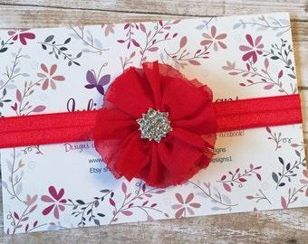 Red Flower Headband/Valentine's Day Baby Headband/Newborn Headband/Red Baby Headband/Valentine's Day Headband/Girl Headband/Infant Headband