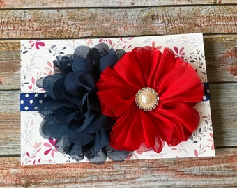 Red & Navy Headband, 4th of July Headband, Patriotic Headband, Baby Headband, Infant Headband, Baby Girl Headband, Newborn Headband, Baby