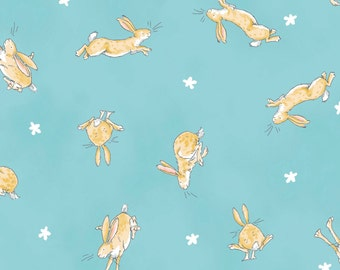 Teal Rabbit Allover from the Guess How Much I Love You 3 Collection by Clothworks