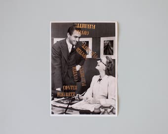 Poster - Tell fleurette - gilding, floral, letterpress, A5, print, vintage, decoration, photography, love, men and girl, B & W