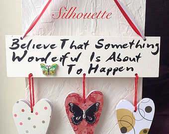 Lovely quote plaque hearts and butterfly