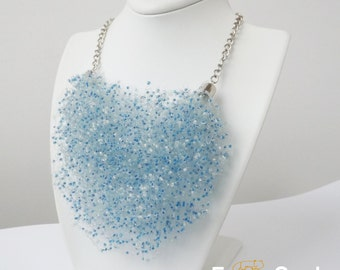 blue necklace white necklace candy jewelry bib necklace blue gift beaded Spring necklace beach fashion gift for aunt womens gift white gift