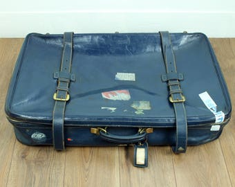 Blue leather suitcase - large 1960s Harrods leather suitcase - vintage luggage - vintage suitcase