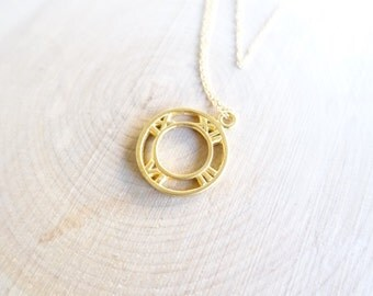 Gold time circle pendant necklace, time necklace, roman time pendant, gold roman time necklace, 14k gold filled chain