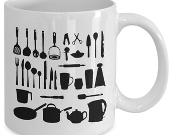 COOKING TOOLS Mug - Chef Gift - Gifts for Cooks - Kitchen Utensils - 11 oz white coffee tea cup