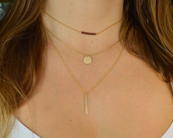 Necklace x 3 Garnet * Medal and bar customizable