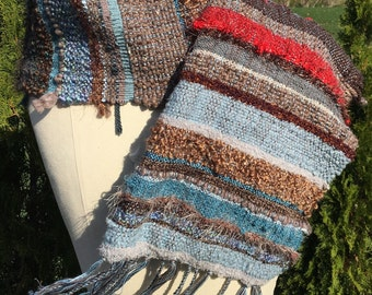 Saori hand woven scarf set, his and hers